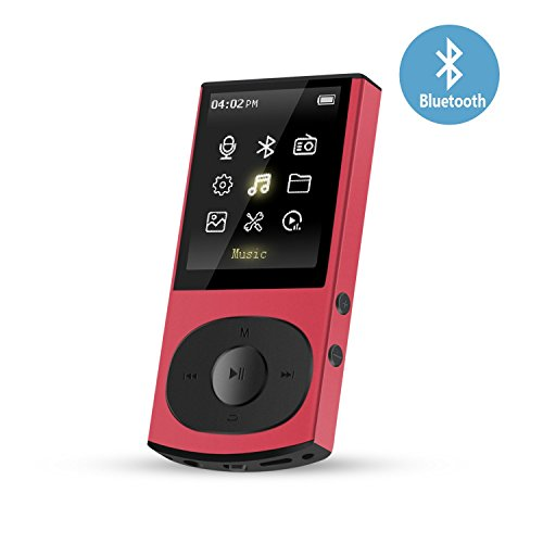 4.0 Digital Clock (AGPTEK C3 8GB Bluetooth 4.0 MP3 Player, Metal Casing Lossless Supports Playlist Shuffle FM Radio, Expandable Up to 128G, Red)