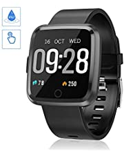 Smart Watch,Fitness Tracker with  Heart Rate Monitor, Calorie Counter,SMS Call Notification,IP67 Waterproof Compatible with Android and IOS (Black)