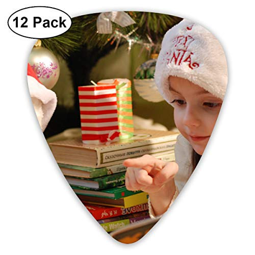 Portrait of Girl Wearing Christmas Hat Bendy Ultra Thin 0.46 Med 0.73 Thick 0.96mm 4 Pieces Each Base Prime Plastic Jazz Mandolin Bass Ukelele Guitar Pick Plectrum Display ()