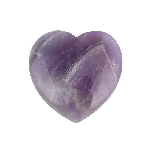 Bingcute Natural Amethyst Pocket Carved Puff Heart Pocket Stone,Healing Palm Crystal Pack of 1(1.6