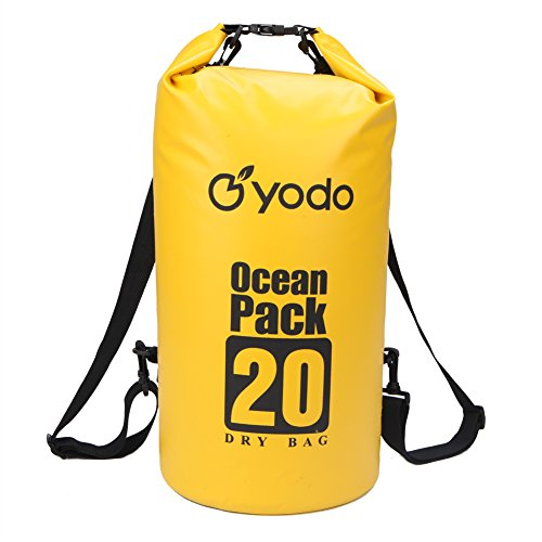 Yodo 20L Kayaking Waterproof Dry Bag - Roll Top Compression Sack for Sports,Outdoor,Canoeing,Fishing,Boating,Camping,Hiking, Rafting with Adjustable Shoulder Strap,Yellow