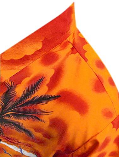 LA LEELA Men's Relaxed Hawaiian Shirt Button Down Aloha Luau Shirt M Orange_W138