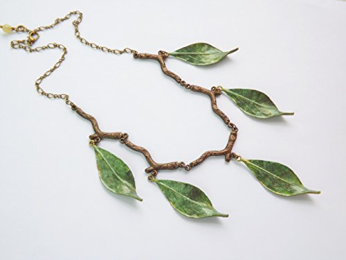 Elven Leaf Necklace - Hand Painted Green Leaves Choker with Branches