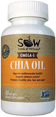 Seeds of Wellness Chia Oil Omega-3 Capsules – 100% Plant-Based Chia Oil and Micro-Algae Oil with ALA and DHA. 60 Capsules, 1000 mg/Serving. Allergen Free.