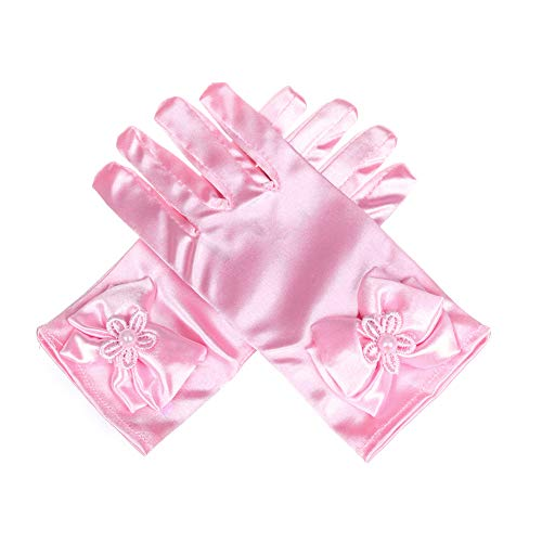 (Lusiyu Girl Solid Child Size Wrist Length Formal Glove with Bow (Pink) )