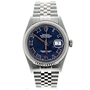 Best Epic Trends 41qW5fmO4hL._SS300_ Rolex Datejust 16014 36mm Watch Blue Roman 18k Gold Fluted Bezel (Certified Preowned)