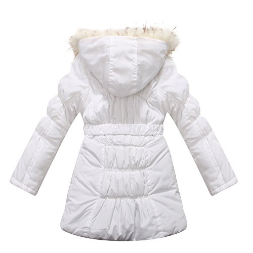 Richie House Big Girls' Padded Winter Jacket with Belt and Faux Fur Hood RH0784