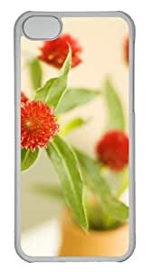 Customized Case Red flower PC Transparent for Apple iPhone 5C