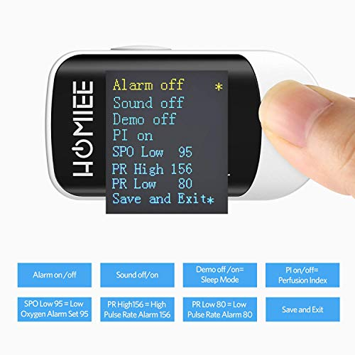 HOMIEE Blood Oxygen Saturation Monitor with Alarm, Heart Rate Monitor with  Auto-Sleep and OLED Display, Silicone Cover, Carrying Bag, Batteries and