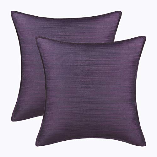 CaliTime Pack of 2 Silky Throw Pillow Covers Cases for Couch Sofa Bed Modern Light Weight Dyed Striped 18 X 18 Inches Deep Purple