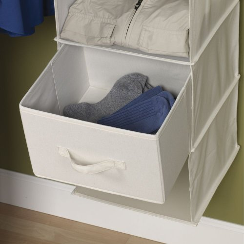 hanging closet organizer with drawers. Amazon.com: Household Essentials 311306 Set Of 2 Drawers For Hanging Shelf Closet Organizers | Natural Canvas Fabric Bin With Handle: Home \u0026 Kitchen Organizer G