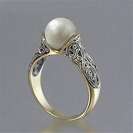 Qazwsxedc para ti Estilo Retro HYF Mujeres con Incrustaciones sintético Delicada joyería del Anillo de Perlas (6)