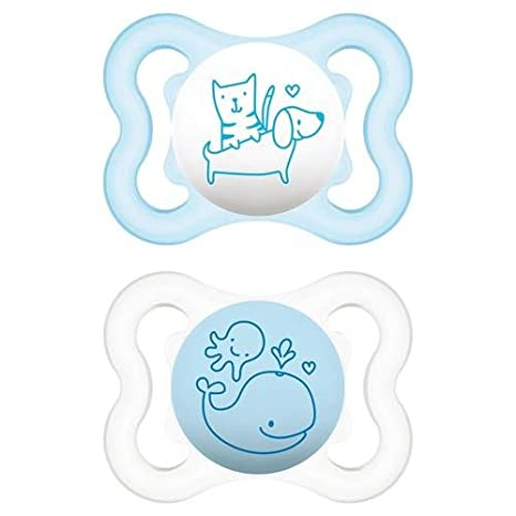 Chupetes mam Mini Air 2 - 6 M silicona celeste/blanco: Amazon.es: Bebé