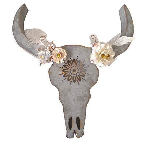 Southwestern Wall Hanging - Parisloft Distressed Galvanized Metal Bull Head Skull Wall Hanging Art Southwestern Cow Steer Skull with Frabic Flowers 17.9 x 19.3 x 3.5 Inches