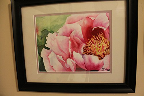 Original Watercolor Painting, pink Peony flower framed, OOAK, water color wall art. Clay. ()