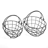 SLPR Black Metal Round Wire Basket with Swing Handle (Set of 2) | Vintage Rustic Farmhouse Country Style Metal Wire Storage for Shelves Pantry Closet Home Decor