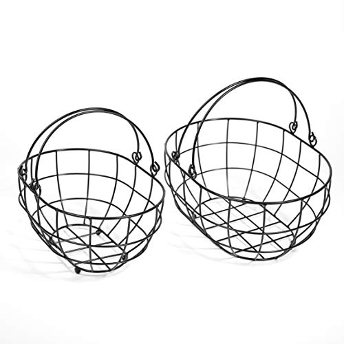 SLPR Black Metal Round Wire Basket with Swing Handle (Set of 2) | Vintage Rustic Farmhouse Country Style Metal Wire Storage for Shelves Pantry Closet Home Decor by SLPR (Image #4)