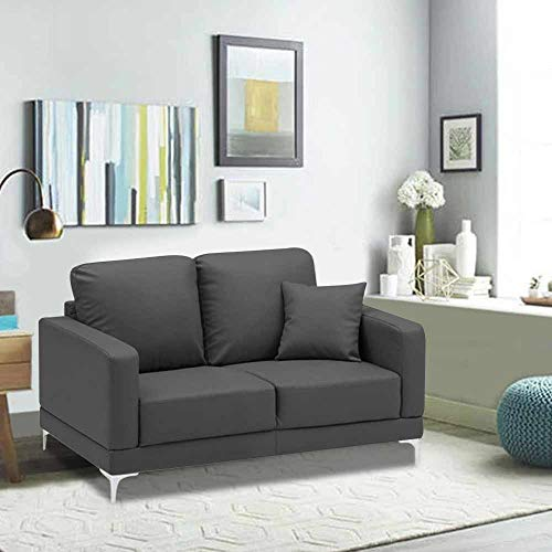 Furny Vittoria 2 Seater Leatherette Sofa Set  Grey