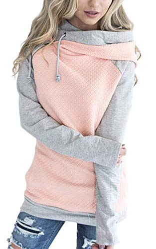 (Hoodies for Women Oblique Zipper Sweatshirts Long Sleeve Hooded Tops Spliced Color Casual Pullover (Tag XL = US L, Pink))