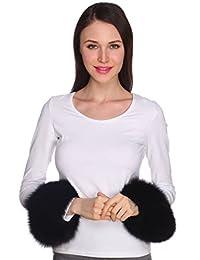 Ferand Women's Wide Real Fox Fur Bracelet Cuffs for Winter Coat Jacket,Black