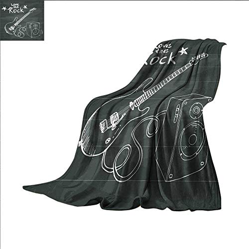 smallbeefly Guitar Digital Printing Blanket Love The Rock Music Themed Sketch Art Sound Box and Text on Chalkboard Summer Quilt Comforter 50