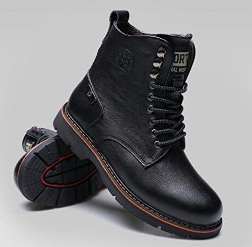 LINYI Neue Männer Casual Martin Stiefel Winter Plus Samt Stiefel Sport Verschleißfeste Walking Office Karriere Werkzeugbau Black