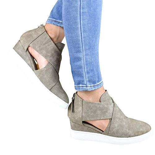 à de plates femmes 3 Uk fermeture sport glissière Zhrui avec originalité avec 5 femme chaussures couleur kaki gris taille pour 5x8Pg