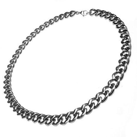 Plana de acero inoxidable cadena, collar, cromo brillante ...