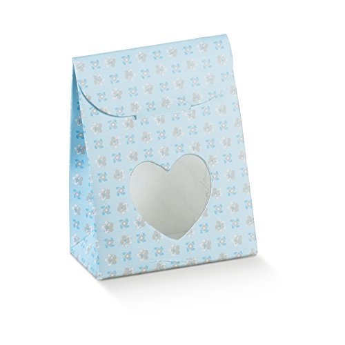 Decorative Gift Favor Box with Lid Butterfly Cutout, Set of 12, Best Designer Quality for Birthday, Wedding, Parties, Easy Fold, Light Blue with Small Flowers (2.4 x 1.4 x 3.1 in)