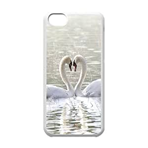 New Fashion Hard Back Cover Case for iPhone 5C with New Printed Love White Swan wangjiang maoyi by lolosakes