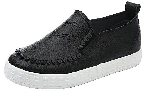 VECJUNIA Kinder Mädchen Jungen Pfirsich Herz Gewölbter Rand PU Leder Loafers Slip on Outdoor Sneakers Schwarz