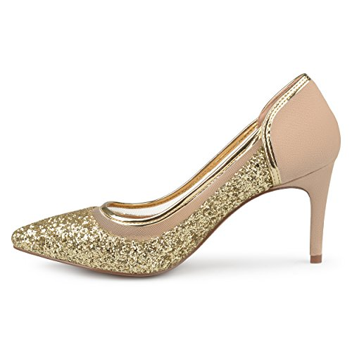 Journee Collection Mujeres Almond Toe Glitter Mesh Heels Gold