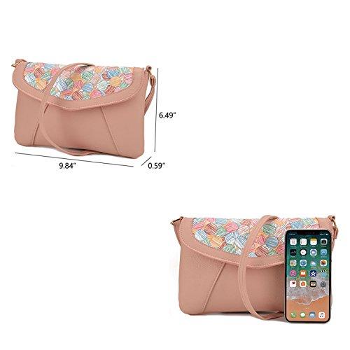 Wallet Crossbody Small Shopper Leather Jiaruo Purse Pink Bag Shoulder Candy xqYAfxSwE