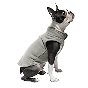 Gooby - Fleece Vest, Small Dog Pullover Fleece Jacket with Leash Ring, Gray, Small