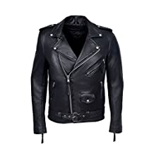 BRANDO BLACK' Men's Classic Motorcycle Biker NAPPA (LAMBSKIN) Real Leather Jacket