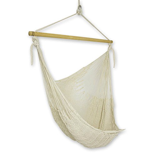 NOVICA Natural Off White Cotton Woven Mayan Rope Hammock Swing Chair with Spreader Bar, Deserted Beach'