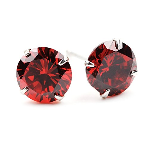 - Chryssa Youree Swarovski Elements Zirconia CZ 3-8MM Stud Earrings Mens Womens Jewelry Bridesmaid Groomsmen Gifts (ED-82) (4mm, red)