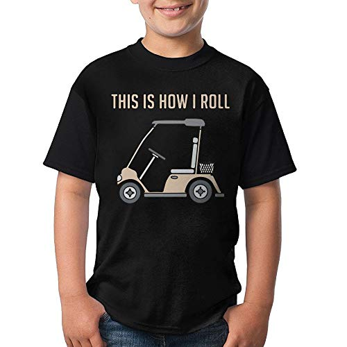 HUDS VIFV This is How I Roll Golf Cart Funny Golfers Boys' Crew Neck Short Sleeve T Shirts Tees ()