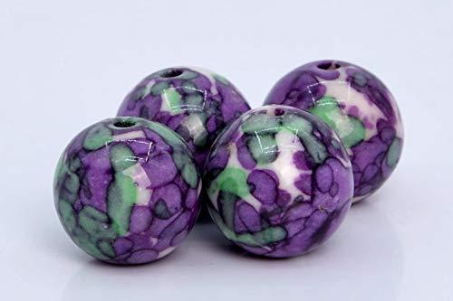 23 Pcs - 8MM Purple & Green Rain Flower Jade Beads Grade AAA Round Gemstone Loose Beads ()