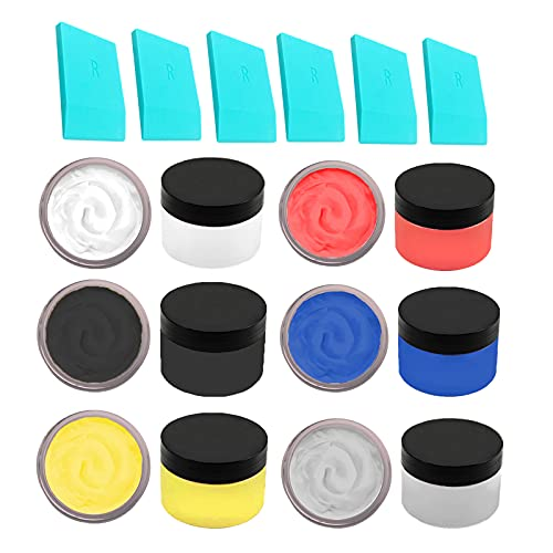 JAJADO 6 Bottles Chalk Paste Ink Set and 6 Packs Mini Squeegees, Screen Printing Stencils Tool for Painting on Wood Paint Transfer DIY Home Decor Art Supplies