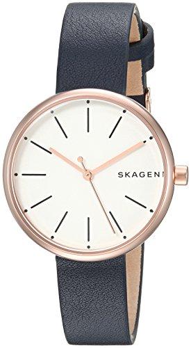 스카겐 시계 Skagen Womens 30mm Signatur Rose Goldtone Watch with Blue Leather Strap