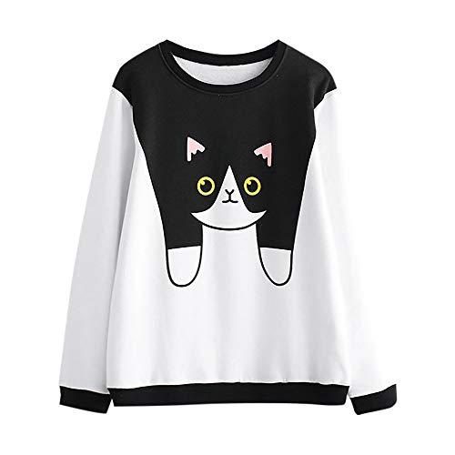 (Lmtime Top Sale! Womens Cute Cat Print Sweatshirt Autumn Casual Pullover Round Neck Plus Velvet Blouse T-Shirts(White,L))