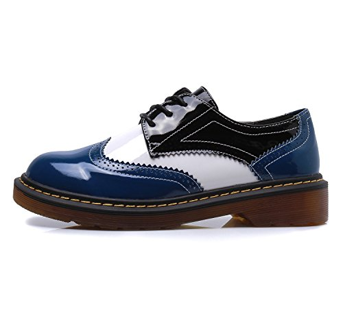 Smilun Girl¡¯s Derby Classic Lace-up Shoes Pantent Leather Flats Pantent Leather Office Business Dress Shoes for Girl Blue White Black Size 6 B(M) US by Smilun (Image #2)