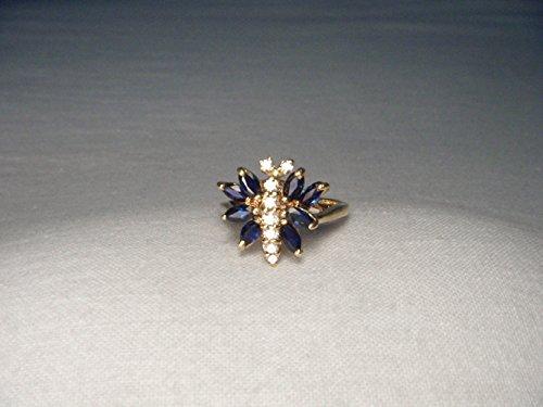 Gorgeous Estate 14K Yellow Gold Diamond Sapphire Butterfly Ring (Estate Diamond Ring Sapphire)