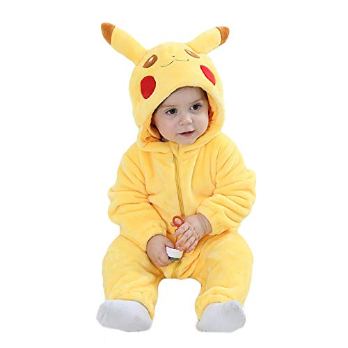 (Unisex Baby Flannel Romper Animal Onesie Costume Hooded Cartoon Outfit Suit (Pikachu,)