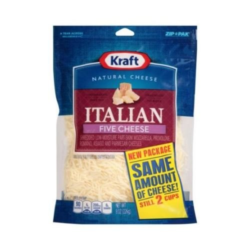 Kraft Zip Pak Natural Shredded Italian Five Cheese, 8 Ounce -- 12 per case.