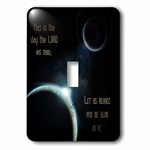 777images Space Fantasy - A sun announcing a new dawn over a solar system with the bible verse psalm 118 verse 24 - Light Switch Covers - single toggle switch (lsp_99100_1) by 3dRose