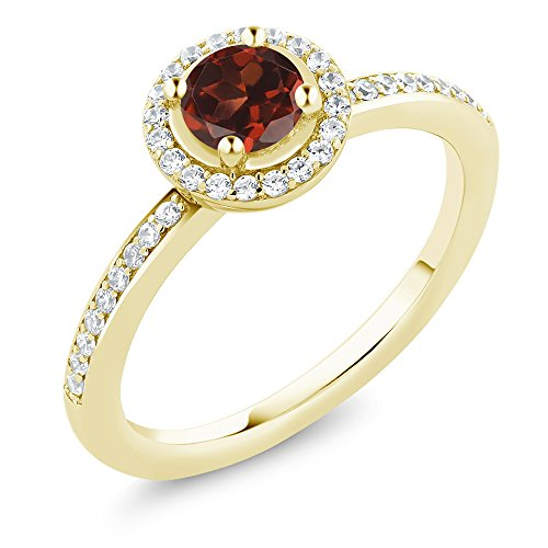 0.74 Ct Garnet 18K Yellow Gold Plated Silver Ring Set with Zirconia from Swarovski (Size 6)
