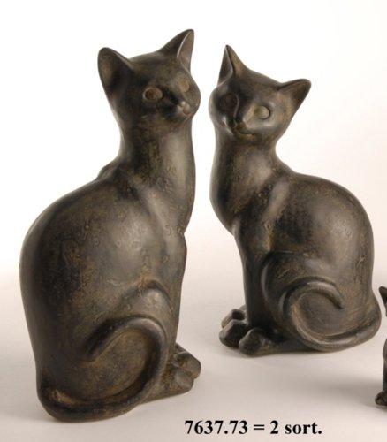 Conjunto de 2 gatos de resina decoración gato gatos - H23/24 ...