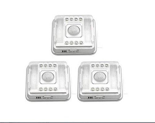 3 x lámpara detector de movimiento adhesiva 8 LED auto-détection Sensor PIR Luz Nocturna